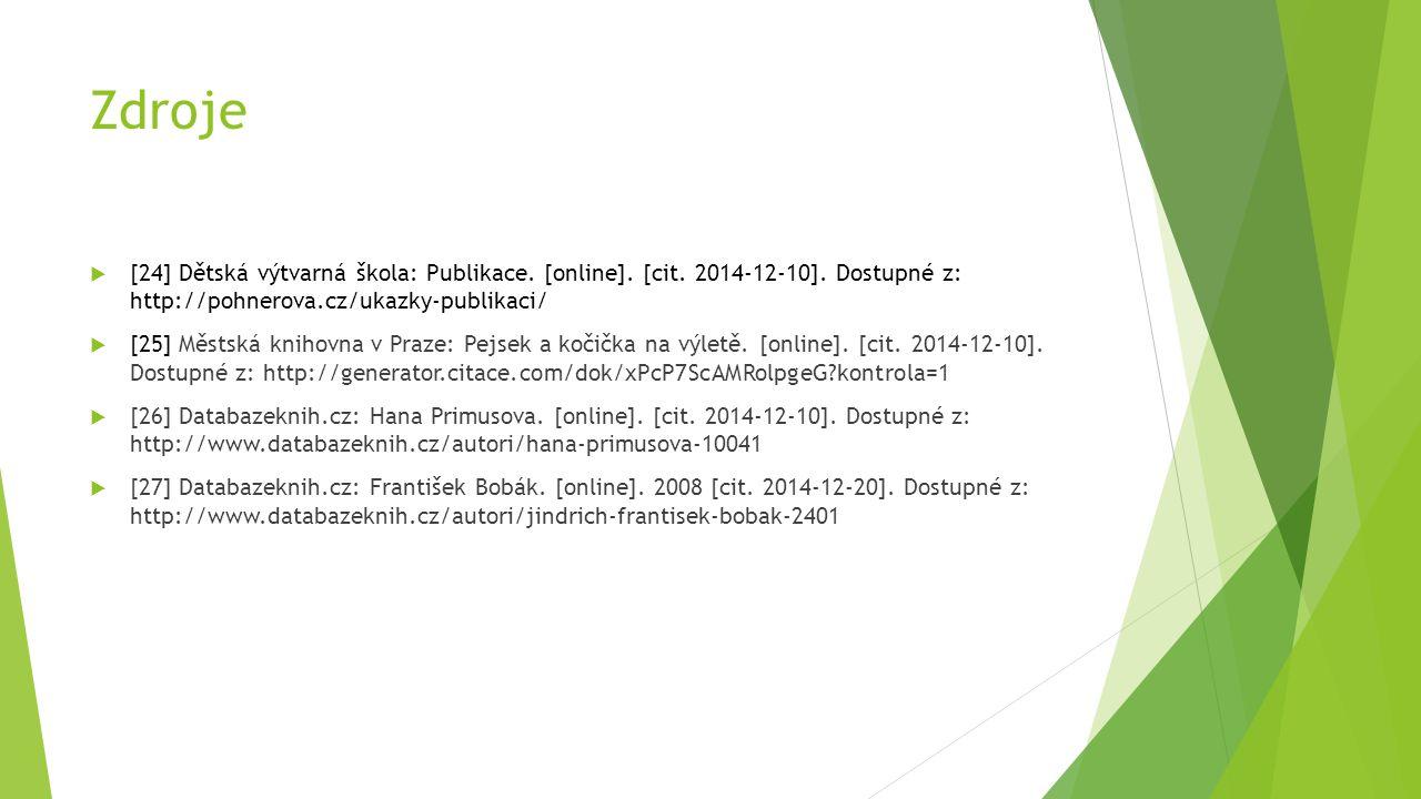 Zdroje [24] Dětská výtvarná škola: Publikace. [online]. [cit. 2014-12-10]. Dostupné z: http://pohnerova.cz/ukazky-publikaci/